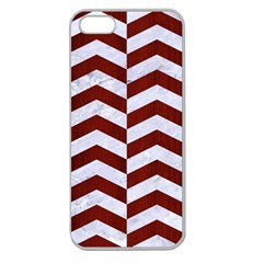 Chevron2 White Marble & Red Wood Apple Seamless Iphone 5 Case (clear) by trendistuff