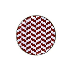 Chevron1 White Marble & Red Wood Hat Clip Ball Marker (10 Pack) by trendistuff
