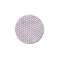 Brick2 White Marble & Red Wood (r) Golf Ball Marker (10 Pack) by trendistuff