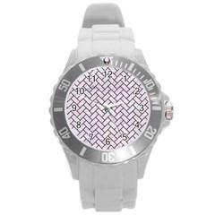 Brick2 White Marble & Red Wood (r) Round Plastic Sport Watch (l) by trendistuff