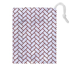 Brick2 White Marble & Red Wood (r) Drawstring Pouches (xxl) by trendistuff