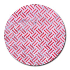 Woven2 White Marble & Red Watercolor (r) Round Mousepads