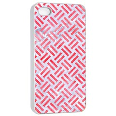 Woven2 White Marble & Red Watercolor (r) Apple Iphone 4/4s Seamless Case (white) by trendistuff