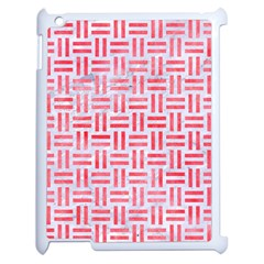 Woven1 White Marble & Red Watercolor (r) Apple Ipad 2 Case (white) by trendistuff