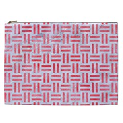 Woven1 White Marble & Red Watercolor (r) Cosmetic Bag (xxl)  by trendistuff