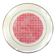 Woven1 White Marble & Red Watercolor Porcelain Plates by trendistuff