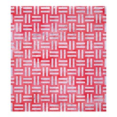 Woven1 White Marble & Red Watercolor Shower Curtain 66  X 72  (large)  by trendistuff