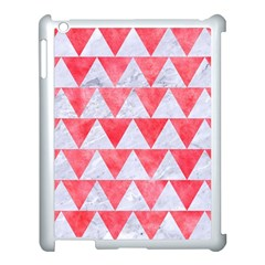 Triangle2 White Marble & Red Watercolor Apple Ipad 3/4 Case (white) by trendistuff