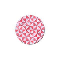 Triangle1 White Marble & Red Watercolor Golf Ball Marker by trendistuff