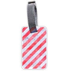 Stripes3 White Marble & Red Watercolor (r) Luggage Tags (two Sides) by trendistuff