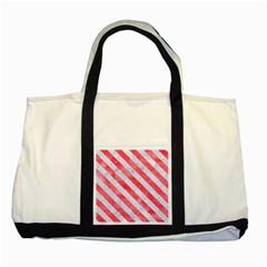 Stripes3 White Marble & Red Watercolor Two Tone Tote Bag by trendistuff