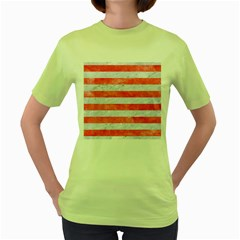 Stripes2white Marble & Red Watercolor Women s Green T Shirt