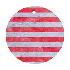 Stripes2white Marble & Red Watercolor Round Ornament (two Sides) by trendistuff