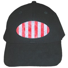 Stripes1 White Marble & Red Watercolor Black Cap by trendistuff