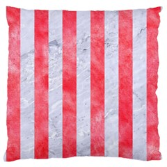 Stripes1 White Marble & Red Watercolor Large Cushion Case (two Sides) by trendistuff