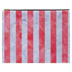 Stripes1 White Marble & Red Watercolor Cosmetic Bag (xxxl)  by trendistuff
