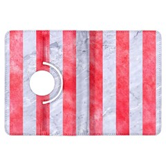 Stripes1 White Marble & Red Watercolor Kindle Fire Hdx Flip 360 Case by trendistuff