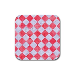 Square2 White Marble & Red Watercolor Rubber Coaster (square)