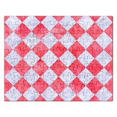 Square2 White Marble & Red Watercolor Rectangular Jigsaw Puzzl by trendistuff
