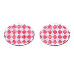 Square2 White Marble & Red Watercolor Cufflinks (oval) by trendistuff