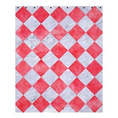 Square2 White Marble & Red Watercolor Shower Curtain 60  X 72  (medium)  by trendistuff