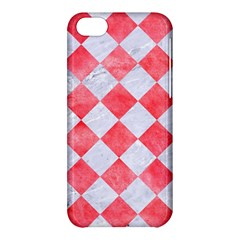 Square2 White Marble & Red Watercolor Apple Iphone 5c Hardshell Case by trendistuff