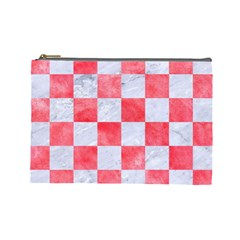 Square1 White Marble & Red Watercolor Cosmetic Bag (large)  by trendistuff