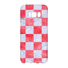 Square1 White Marble & Red Watercolor Samsung Galaxy S8 Hardshell Case