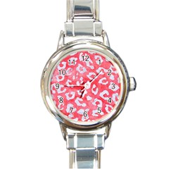 Skin5 White Marble & Red Watercolor (r) Round Italian Charm Watch by trendistuff