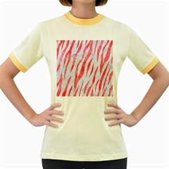 Skin3 White Marble & Red Watercolor (r) Women s Fitted Ringer T Shirts