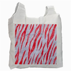 Skin3 White Marble & Red Watercolor (r) Recycle Bag (two Side)  by trendistuff