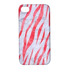 Skin3 White Marble & Red Watercolor (r) Apple Iphone 4/4s Hardshell Case With Stand by trendistuff