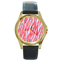 Skin3 White Marble & Red Watercolor Round Gold Metal Watch