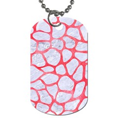 Skin1 White Marble & Red Watercolor Dog Tag (two Sides) by trendistuff