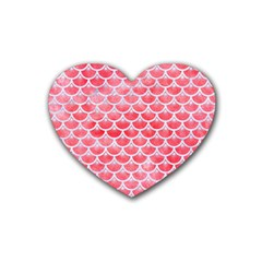 Scales3 White Marble & Red Watercolor Rubber Coaster (heart)  by trendistuff