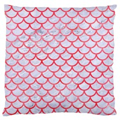 Scales1 White Marble & Red Watercolor (r) Large Cushion Case (one Side) by trendistuff