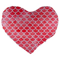Scales1 White Marble & Red Watercolor Large 19  Premium Flano Heart Shape Cushions by trendistuff
