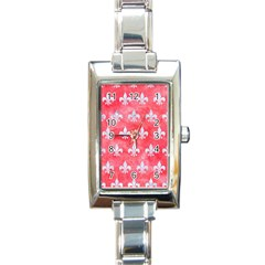 Royal1 White Marble & Red Watercolor (r) Rectangle Italian Charm Watch by trendistuff