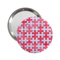Puzzle1 White Marble & Red Watercolor 2 25  Handbag Mirrors by trendistuff