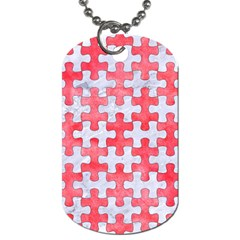 Puzzle1 White Marble & Red Watercolor Dog Tag (two Sides) by trendistuff