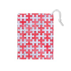 Puzzle1 White Marble & Red Watercolor Drawstring Pouches (medium)