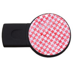 Houndstooth2 White Marble & Red Watercolor Usb Flash Drive Round (2 Gb) by trendistuff