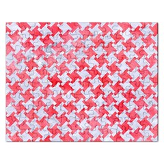 Houndstooth2 White Marble & Red Watercolor Rectangular Jigsaw Puzzl by trendistuff