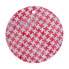 Houndstooth2 White Marble & Red Watercolor Round Ornament (two Sides) by trendistuff