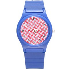 Houndstooth2 White Marble & Red Watercolor Round Plastic Sport Watch (s) by trendistuff