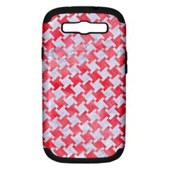 Houndstooth2 White Marble & Red Watercolor Samsung Galaxy S Iii Hardshell Case (pc+silicone) by trendistuff