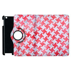 Houndstooth2 White Marble & Red Watercolor Apple Ipad 2 Flip 360 Case by trendistuff