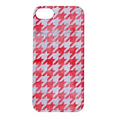 Houndstooth1 White Marble & Red Watercolor Apple Iphone 5s/ Se Hardshell Case