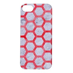 Hexagon2 White Marble & Red Watercolor (r) Apple Iphone 5s/ Se Hardshell Case