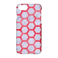Hexagon2 White Marble & Red Watercolor (r) Apple Iphone 7 Hardshell Case by trendistuff